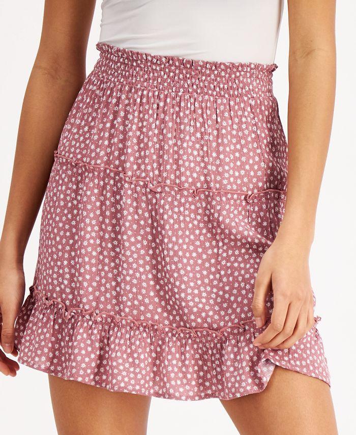 Hippie Rose - Juniors' Smocked-Waist Mini Skirt