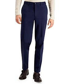 Men's Slim-Fit Stretch Navy Blue Suit Pants