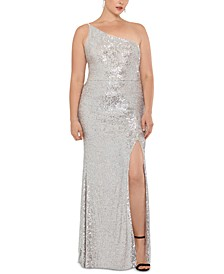 Plus Size Sequined One-Shoulder Gown
