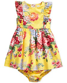 Baby Girls Ruffled Floral Cotton Dress & Bloomer