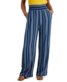 Juniors' Striped Smocked Wide-Leg Pants