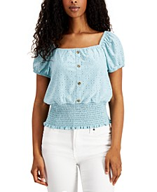 Juniors' Smocked-Waist Eyelet Top