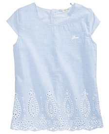 Big Girls Cotton Chambray Eyelet Top