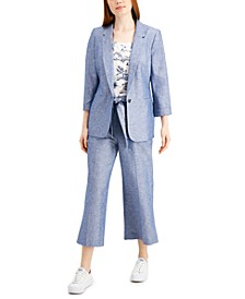 Chambray Blazer, Toile Ruffled Top & Wide-Leg Belted Pants, Created for Macy's