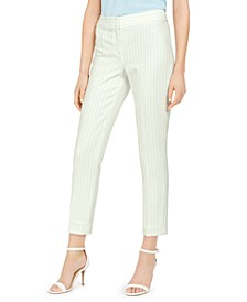 Pinstriped Slim-Leg Ankle Pants