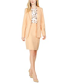 Faux-Pearl Jacket, Pleat-Neck Blouse & Pencil Skirt