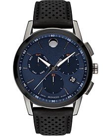 Men's Swiss Chronograph Museum Black Perforated Leather Strap Watch 43mm
