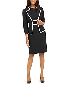 Petite Contrast-Trim Dress Suit