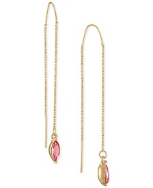 Gold-Tone Pink Marquise Stone Threader Earrings