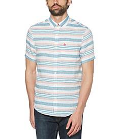 Men's Slim-Fit Horizontal Stripe Woven Linen Short Sleeve Shirt