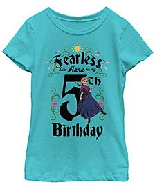 Big Girls Frozen Anna Birthday 5 Short Sleeve T-shirt