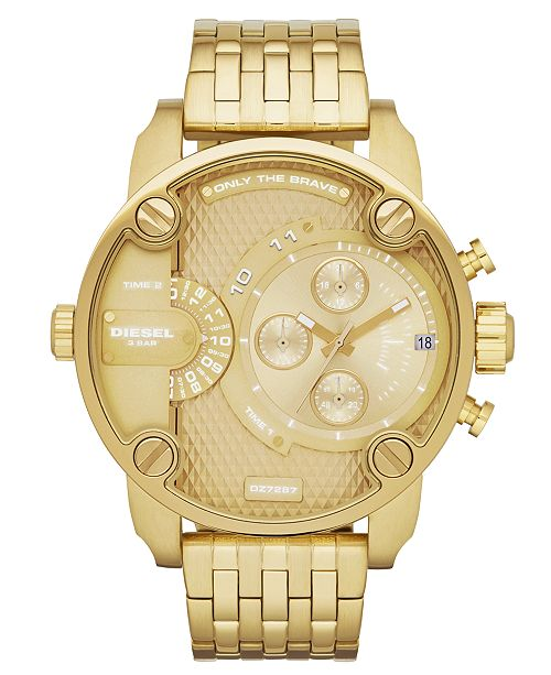 243897329 ... Diesel Watch, Men's Gold-Tone Stainless Steel Bracelet 51mm DZ7287 ...