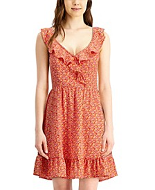 Juniors' Ruffled Open-Back A-Line Dress