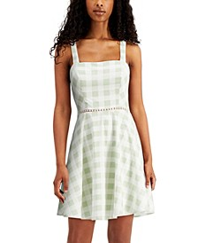 Juniors' Checkered Bow-Back Fit & Flare Dress