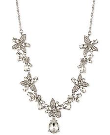 "Crystal Flower Frontal Necklace, 16"" + 3"" extender"