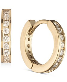 Gold-Tone Pavé Mini Huggie Hoop Earrings