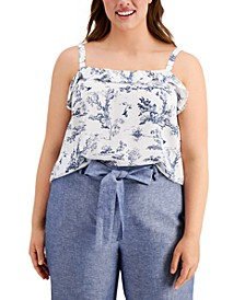 Trendy Plus Size Printed Ruffle Cami, Created for Macy's