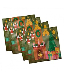 "Fireplace Set of 4 Napkins, 18"" x 18"""