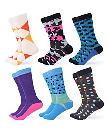 Men's Funky Colorful Dress Socks Pack of 6