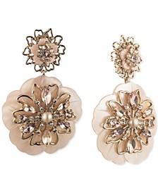 Gold-Tone Crystal & Imitation Pearl Double Flower Drop Earrings