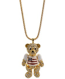 """Gold-Tone Pavé Red, White & Blue Bear 36"""" Pendant Necklace, Created for Macy's"""