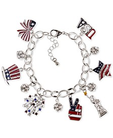 Silver-Tone Pavé Red, White & Blue Charm Bracelet, Created for Macy's