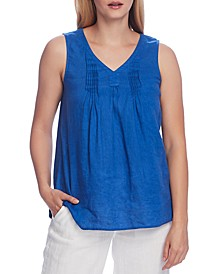 Pintucked Sleeveless Linen Top