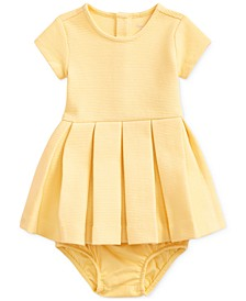 Baby Girls Pleated Knit Dress & Bloomer