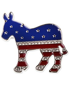 Silver-Tone Pavé Red, White & Blue Donkey Pin, Created for Macy's