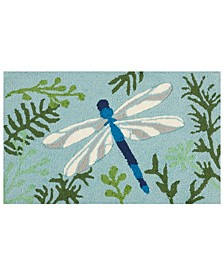 "Hand Hooked Dragonfly 18""x 30"" Accent Rug"