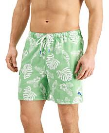 """Men's Naples Parrot In Paradise UPF 30 Tropical-Print 6"""" Swim Trunks"""