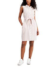 Striped Tie-Waist Button-Down Dress
