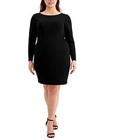 Trendy Plus Size Long-Sleeve Cross-Back Dress