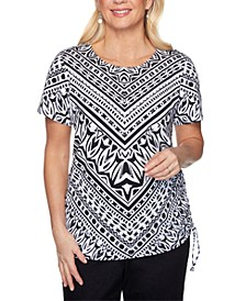 Checkmate Geo-Print Knit Top