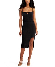 Juniors' Lace-Back Side-Slit Slim Dress