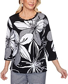Women's Missy Checkmate Exploded Floral with Check Top