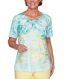 Spring Lake Printed Lace-Trim Top