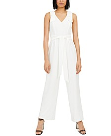 INC Bow-Sleeve Crepe Jumpsuit, Created for Macy's