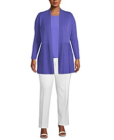 Plus Size Waist-Seam Cardigan