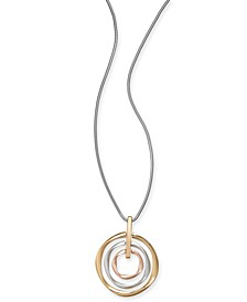 "Tri-Tone Circle Orbital 34"" Pendant Necklace, Created for Macy's"