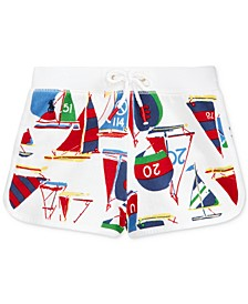 Toddler Girls Sailboat-Print Cotton French Terry Shorts