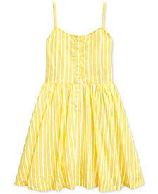 Toddler Girls Striped Cotton Poplin Dress