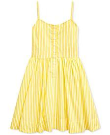 폴로 랄프로렌 여아용 원피스 Polo Ralph Lauren Toddler Girls Striped Cotton Poplin Dress,Lemon Rind Multi