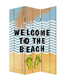Coastal Double sided with different Design 3 Panel Beach Treasures Screen
