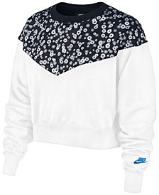Nike Women's Sportswear Heritage Floral-Print Cropped Fleece Top