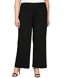 Plus Size Stretch-Crepe Wide-Leg Pants