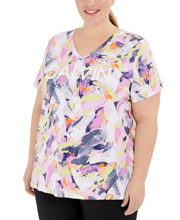 Calvin Klein Plus Size V-Neck Printed Logo T-Shirt