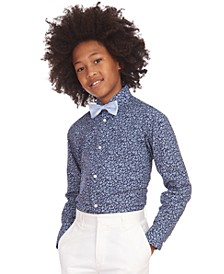 Big Boys 2-Pc. Stretch Floral-Print Dress Shirt & Geo Bow Tie Set