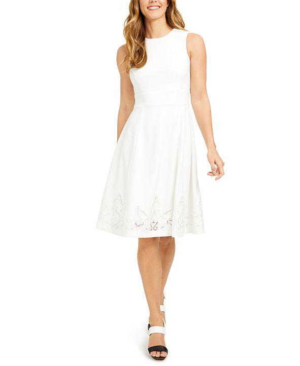 Calvin Klein Petite Lace-Hem Fit & Flare Dress