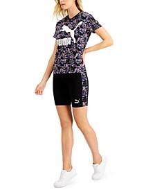 Printed T-Shirt & Bike Shorts